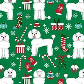 white poodle christmas fabric - poodle fabric, christmas poodle, christmas dog fabric - green