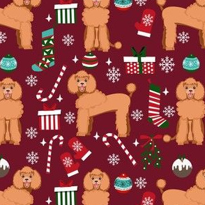 apricot poodle christmas fabric - poodle fabric, christmas poodle, christmas dog fabric - ruby