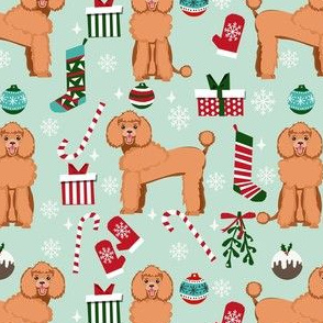 apricot poodle christmas fabric - poodle fabric, christmas poodle, christmas dog fabric - mint