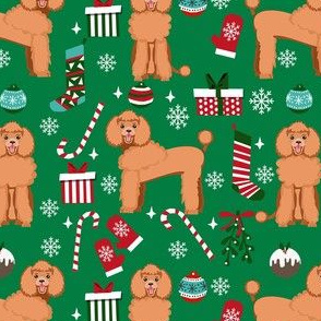 apricot poodle christmas fabric - poodle fabric, christmas poodle, christmas dog fabric - green