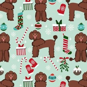brown poodle christmas fabric - poodle fabric, christmas poodle, christmas dog fabric - mint