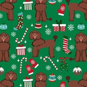 brown poodle christmas fabric - poodle fabric, christmas poodle, christmas dog fabric - green