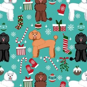 poodle christmas fabric - dog fabric, christmas fabric, poodle dog fabric, holiday dog - teal