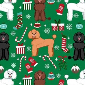 poodle christmas fabric - dog fabric, christmas fabric, poodle dog fabric, holiday dog - green