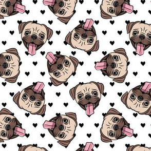 Happy Pugs - black hearts - cute pug dog breed valentines - LAD19