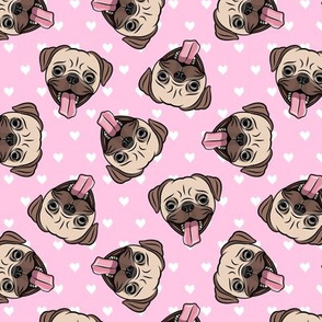 Happy Pugs - pink hearts - cute pug dog breed valentines - LAD19