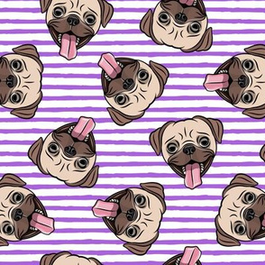 Happy Pugs - purple stripes - cute pug dog breed - LAD19