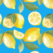 Seamless pattern with watercolor illustration of lemons on blue background