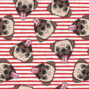 Happy Pugs - red stripes - cute pug dog breed - LAD19