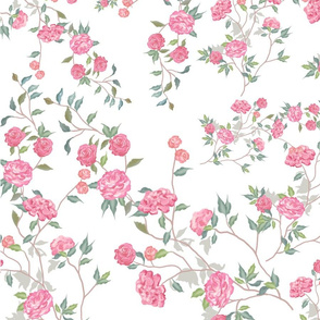 Branches with pink flowers on a white background. Seamless pattern