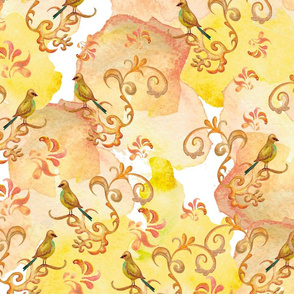 Watercolor pattern with birds. Watercolor background. Seamless pattern