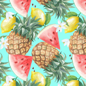 Seamless watercolor illustration pattern with lemons_ pineapples and cherry branches