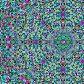 wild aqua and purple checkerboard kaleidoscope