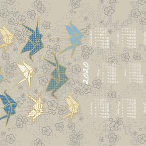 custom 2020 Calendar, Sunday / Origami Tan Light