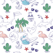 Beach summer holidays. Hand drawn outline doodle illustrations. Vector seamless pattern