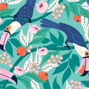 Whimsical toucan forest