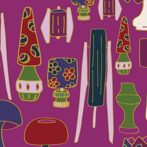 The Jewel Tone 70's Design Challenge purple, green, blue, res, yellow, cream lamps light 70's hand drawn repeating pattern