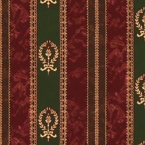 Bachelor Pad Stripe ~ Burgundy, Hunter Green with Faux Gilt Gold