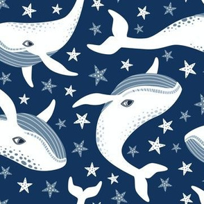 White whimsical space whales on navy blue