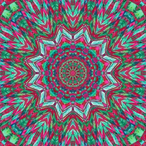 Kaleidoscope - red and aqua checkerboard
