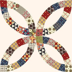 Quilt Panel Cream Colored Double Wedding Ring Quilt Block-01