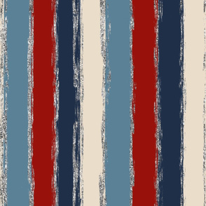 Painted Stripes in Blue, Red and Cream with Silver Glitter Rotated- large scale