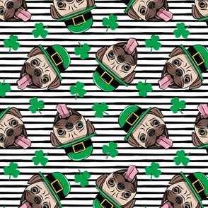 Patty's Pug - St Patricks Day Pugs - black stripes toss - LAD19