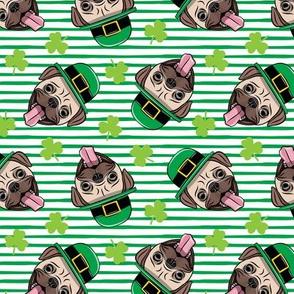 Patty's Pug - St Patricks Day Pugs - green stripes - LAD19