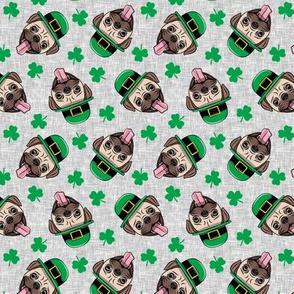 (small scale) Patty's Pug - St Patricks Day Pugs - Grey toss - LAD19