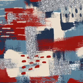 Abstract Paint Dabs in Red, Blue, Cream and silver glitter - large scale
