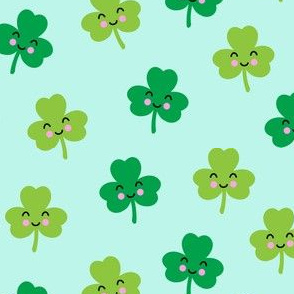Cute Shamrocks - mint - St Patricks Day - LAD19