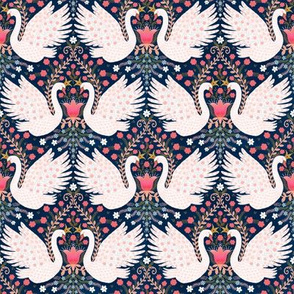 Whimsical Swans (navy) 4""