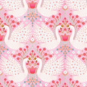 Whimsical Swans (pink) 6""