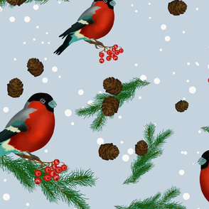 Bullfinches and mountain ash, new year