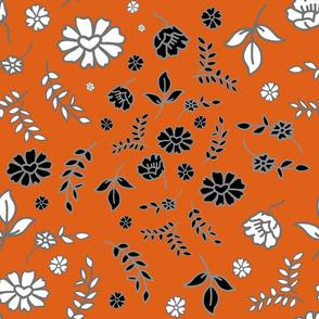Mimi's Fleurs de Chintz #1 - pumpkin orange, Large