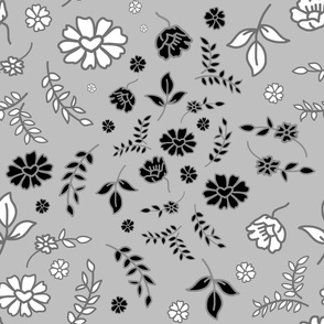 Mimi's Fleurs de Chintz #1 - silver grey, Large