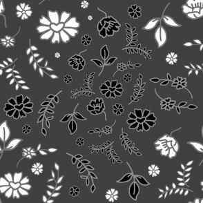 Mimi's Fleurs de Chintz #1 - charcoal grey, large