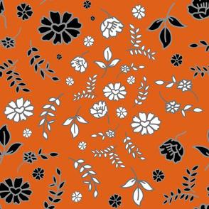 Mimi's Fleurs de Chintz #2 - pumpkin orange, Large