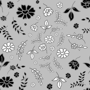 Mimi's Fleurs de Chintz #2 - silver grey, Large