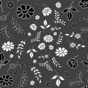 Mimi's Fleurs de Chintz #2 - charcoal grey, Large