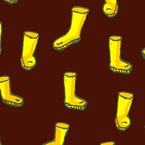 Whimsical Yellow Boots on Brown