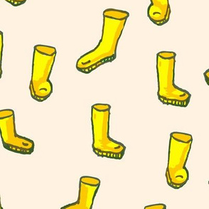 Whimsical Yellow Boots on Cream