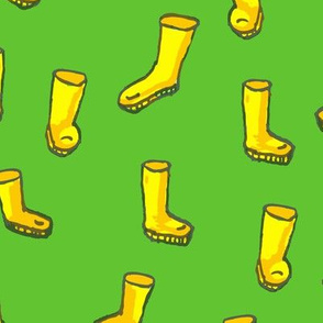 Whimsical Yellow Boots on Green