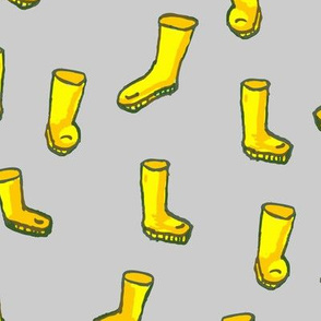 Whimsical Yellow Boots on Grey