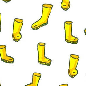 Whimsical  Yellow Boots on White