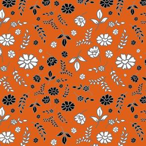 Mimi's Fleurs de Chintz #1 - pumpkin orange, medium