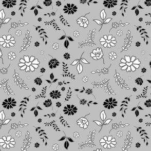 Mimi's Fleurs de Chintz #1 - silver grey, medium