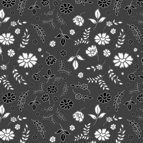 Mimi's Fleurs de Chintz #1 - charcoal grey, medium