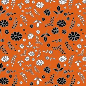 Mimi's Fleurs de Chintz #2 - pumpkin orange, medium