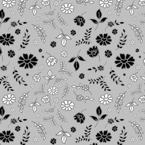 Mimi's Fleurs de Chintz #2 - silver grey, medium
